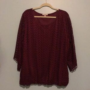Roz & Ali lined maroon blouse 1x plus size